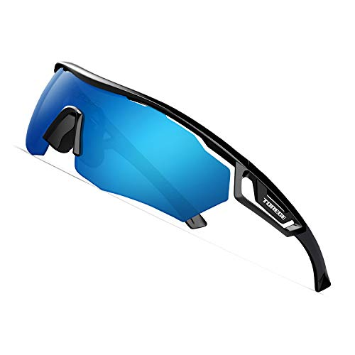 TOREGE Polarized Sports Sunglasses with 3 Interchangeable Lenes for Men Women Cycling Running Driving Fishing Golf Baseball Glasses TR05 (Black&Black&Blue Lens)
