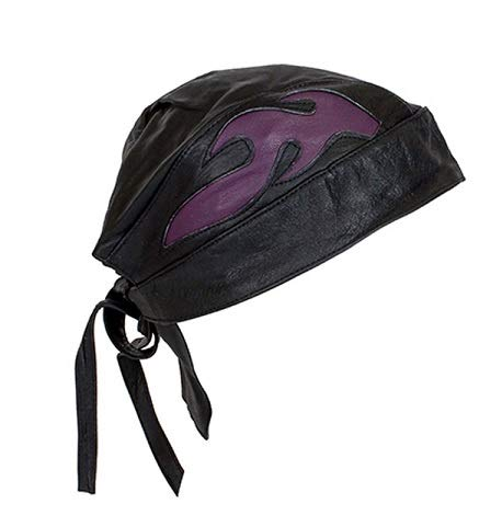 Billys Biker Gear Leather Skull Cap with Purple Colored Flames