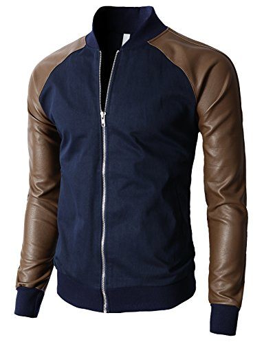 H2H Men's Quilted Microtwill Flight Bomber Jacket Navy US 2XL/Asia 3XL (KMOJA0138)
