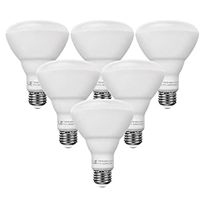 LE Pack of 6 Units, 15W BR30 E26 LED Bulbs, 75W Incandescent Bulbs Equivalent, Not Dimmable, LED Recessed Can Lights, 1210lm, Warm White, 2700K, 110° Flood Beam, E26 Base, LED Light Bulbs