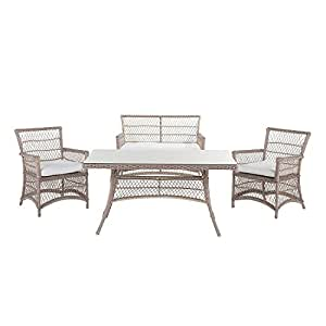 Country 4-Piece Outdoor Dining Set Bench Chairs and Table Gray Wicker Barletta