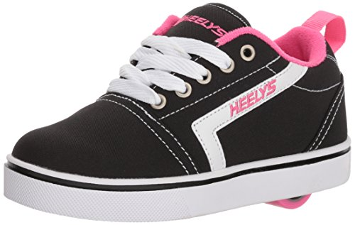 Heelys Girls' GR8 Tennis Shoe, Black/White/Pink, 1 M US Big - Black Shoes Heely Girls