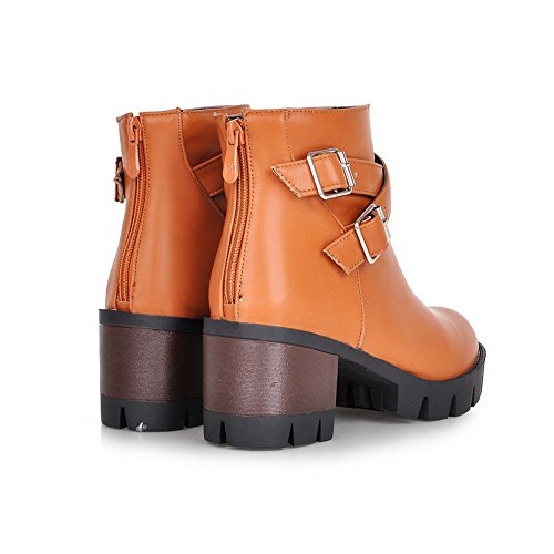 BalaMasa Womens Studded Rhinestones Metal Buckles Gear Bottom Imitated Leather Boots Brown VYYPWqdS4