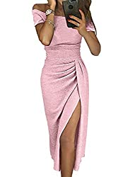 A-Pink_10 Off The Shoulder Sequin Long Maxi Gown with Slit