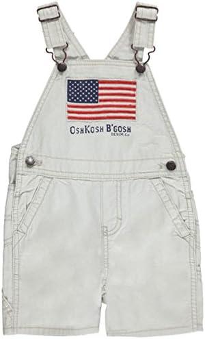 OshKosh BGosh Baby Boys American Flag Patriotic Canvas Shortalls Khaki