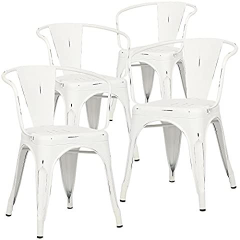 Poly and Bark Trattoria Arm Chair in Distressed White (Set of 4) (White Bistro Dining Table)