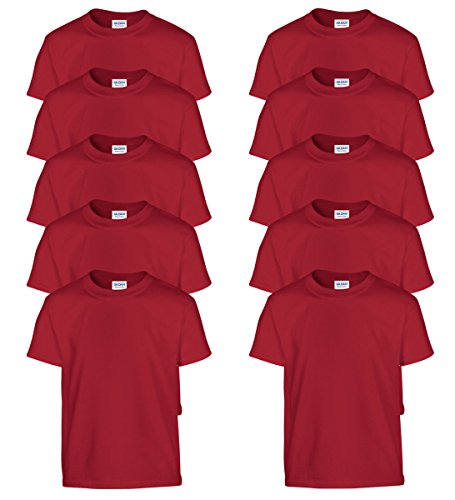 100% Cotton T-Shirt_Cardinal Red_L (Pack of 10) ()