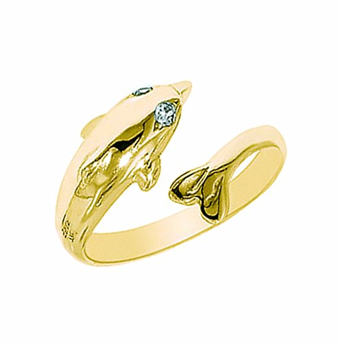 10k Solid Yellow Gold Cubic Zirconia Dolphin Ring or Toe Ring - Toe Dolphin Ring Gold 14k