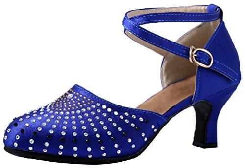 Abby 595 Womens Ballroom Casual Rumba Tango A Punta Chiusa Tacco Medio Scarpe Con Strass Latino Ballo Blu