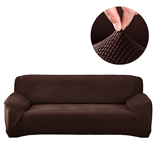 Sectional Sofa Cover 1PCS DIY(Buy Two For Complete Sofa)-L Couch Cover-Soft Polyester Fabric Slipcovers Form Fit Stretch Furniture Slipcover-Microfibra Collection (L-Shape Sofa Left 3 Seater, Brown) (Diy Cushion Covers Sofa)