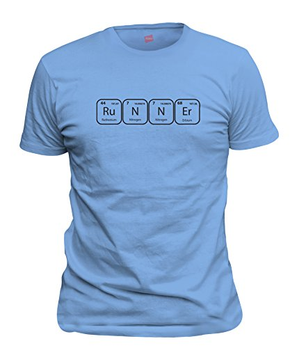 ShirtLoco Men's Runner Periodic Table Of Elements T-Shirt, Carolina Blue Large