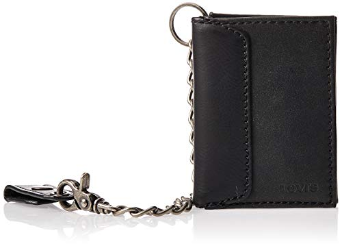 Levi's Men's Trifold Wallet, Black with Chain, One Size (Cheap Rings Men)