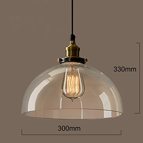 ch Half-Globe Vintage Industrial Ceiling Lamp Clear Glass pendant lighting for kitchen island Loft Shade Fixture (Pendant Indoor Clear Bubble)