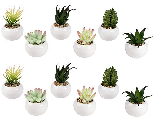 Mini Potted Succulents - 12-Pack Miniature Fake Faux Plants in Round Ceramic Planter Pot, Green Artificial Tabletop Deskration, Decorative Indoor Home, Office, Bathroom Small Plants Decor