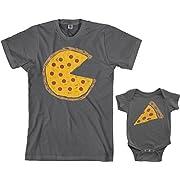 Threadrock Pizza Pie & Slice Infant Bodysuit & Men's T-Shirt Matching Set (Baby: 6M, Charcoal|Men's: L, Charcoal)