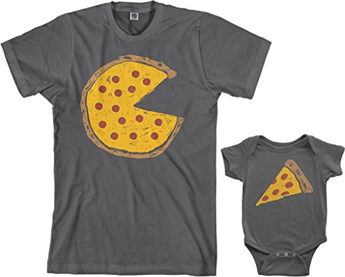 Threadrock Pizza Pie & Slice Infant Bodysuit & Men's T-Shirt Matching Set (Baby: 12M, Charcoal|Men's: L, Charcoal)