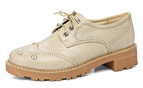 Aisun Kvinna Vintage Komfort Snörning Dressat Rund Tå Chunky Låg Klack Barock Oxfords Skor Aprikos