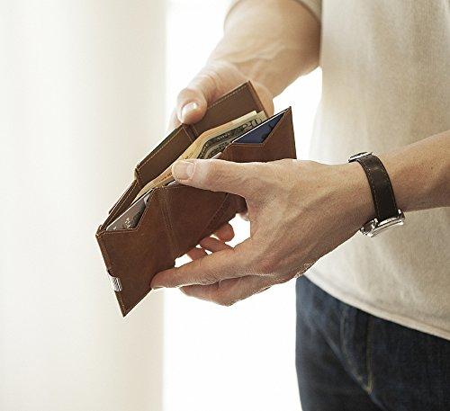 Exentri de cuero genuino monedero tarjeta de crédito Nubuck Brown EX018 (Nubuk Braun)