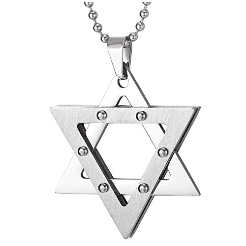 COOLSTEELANDBEYOND Men Women Stainless Steel Star-of-David Pendant Necklace with Rivets, 30 inches Ball Chain