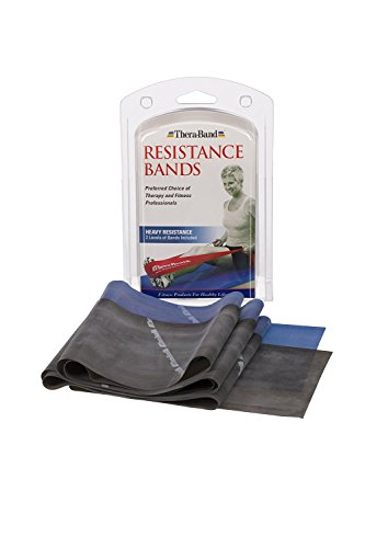 TheraBand Resistance Band Set, Professional Latex Elastic Bands for Upper & Lower Body & Core Exercise, Physical Therapy, Lower Pilates, at Home Workouts, and Rehab, Beginner & Advanced Sets