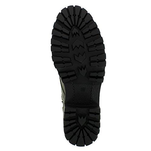 Evita Shoes Vera Damen Schnürstiefelette Glattleder Olive