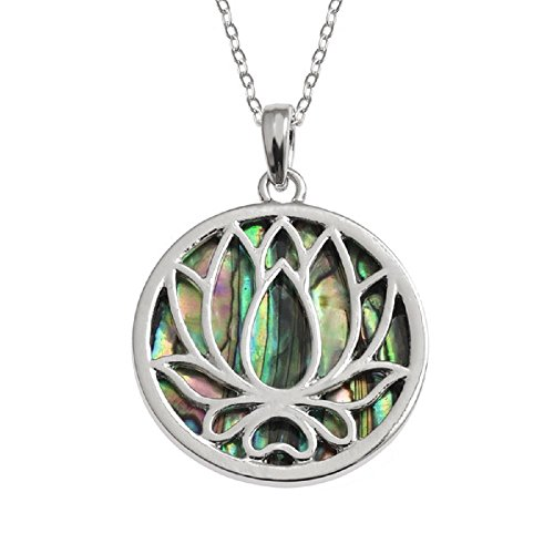 BellaMira Lotus Water Lily Flower Pendant Earrings Bangle (as Chosen) Abalone Shell Ethically Sourced from New Zealand Womens Girls Jewellery Gift Boxed - Paua Zealand Necklace Shell New