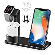 SENZLE Wireless Charger,3 in 1 Fast Qi Wireless Charger Charging Stand Dock Station Holder Compatible iPhone X/iPhone 8/8 Plus/iWatch/ iWatch Series 3 2 1/ Airpods-Sliver?NightStand Mode?