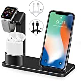 SENZLE Watch Stand Wireless Charger,3 in 1 Aluminum Fast Wireless Charger Charging Stand Dock Station for iPhone X/XR/XS/XS Max/ 8/8 Plus/iWatch Series 4 3 2 1/ Airpods【NightStand Mode】-Black