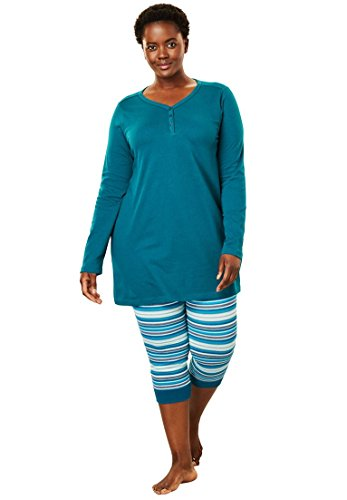 Dreams & Co. Women's Plus Size 2-Piece Capri Legging Pj Set Blue Sapphire,2X (Set Tunic & Cropped Pants)