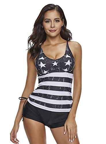 Reteron Women's Plus Size 2 Pieces Stripe Print Boyshort Tankini Swimsuit (Star Print, XXL)
