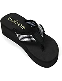 Womens Flip Flops Babe Studded Strap Platform Thongs Sandals Shoes