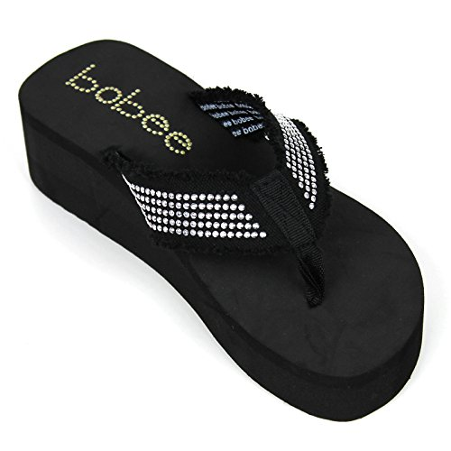 ps Studded Strap Platform Thongs Sandals Shoes (Black Bobee 9) (Thong Platform Shoes)