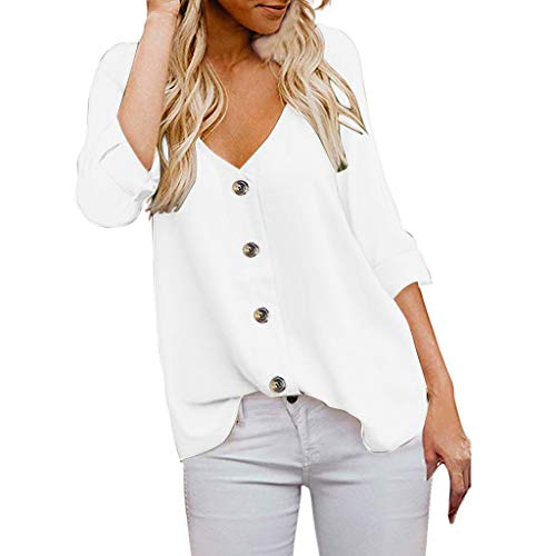 - Women's Button Down Shirts 3/4 Sleeve V Neck Casual Tops Shirts Blouses White