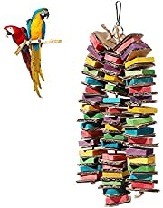GFNet Parrot Bird Toys, Parrot Chew Toys Cardboard Bird Toys, Parrots, Macaws, Natural Wooden Bird Cage Chew Toys for Small, Medium and Large Birds