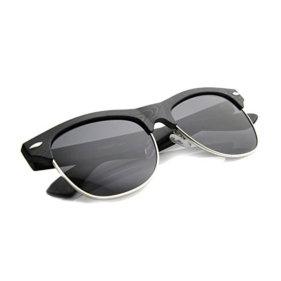 Classic Retro Wood Printed Half Frame Horn Rimmed Sunglasses 54mm 4 Elegant Wood Frame Finish Classic Horn Rimmed Design Edgy Half Frame Silhouette