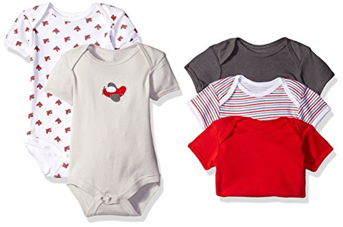 Rene Rofe Baby Boys' 5 Piece Shortsleeve Bodysuit Set, Little Red Helicopter, 6-9 Months