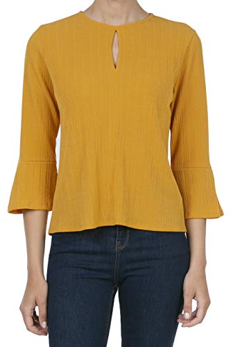 iliad USA 9050 Women's 3/4 Sleeve Flared Cuff Blouse Jersey Top Gold Yellow 2XL ()