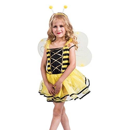 FantastCostumes Girls Honey Bee Costume Dress With Wings(Yellow, Medium) - Childs Honey Bee Wings
