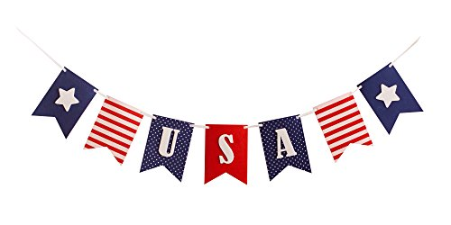 (USA Banner Bunting Laser Cut Felt 40 inches wide - Patriotic Americana Red, White, & Blue)