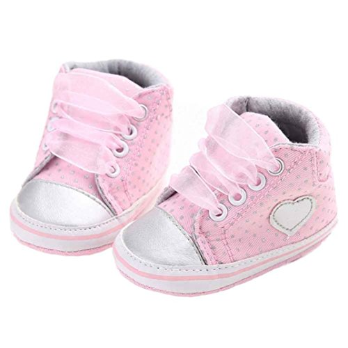 Soft Sole Sneaker ,Kimanli Girl Canvas Shoe Baby Boys Shoes Anti-slip Toddler (0~6 months, Pink)