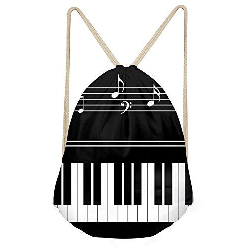 Instantarts Girl Beach Bag Kid Drawstring Backpack String Music Piano Key Sack Pack For Sale