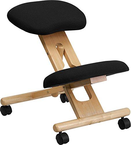 Emma + Oliver Mobile Wooden Ergonomic Kneeling Office Chair in Black Fabric by Emma + Oliver
