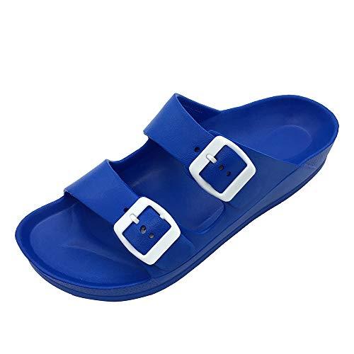 LUFFYMOMO Adjustable Slip on Eva Double Buckle Slides for Womens Mens (9 M US Royal Blue) (Sandals Women Blue)