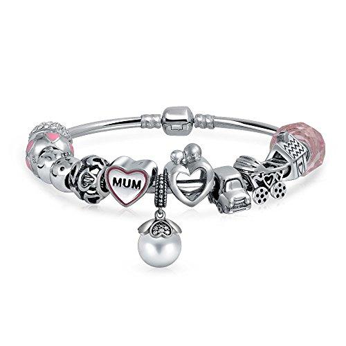 Bling Jewelry 925 Silver Mum Heart Mother Charm Bangle Bracelet Fits Pandora