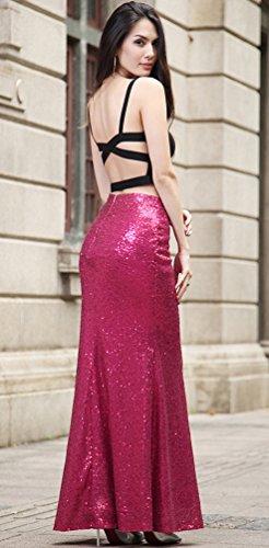 NiSeng Mujer Lentejuelas Falda De La Cola De Pescado Bodycon Faldas Cocktail Skirt Burdeos