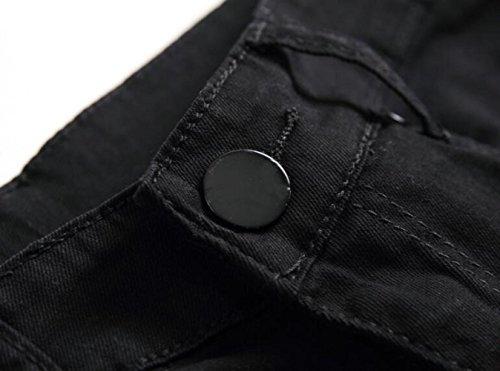 Jeans Stretch Lampo In Black Denim Strappati Skinny Fori Uomo Fit Cotone Di Chiusura Casual Da Dritto Pantaloni Leisure IrgOEqwrHx