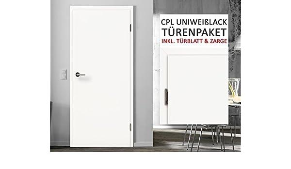 CPL habitaciones puertas puertas interiores del paquete Uni Blanco lacado 3 – 11 Elementos Puerta hojas + zarge grosor de la pared 8 – 29 cm: Amazon.es: Bricolaje y herramientas
