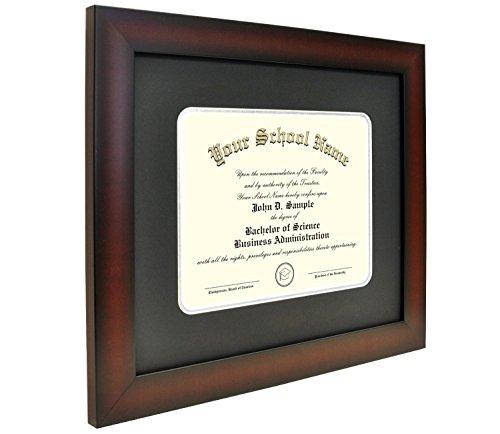 (Mahogany Finish Infinity Diploma Frame with Black and Silver Mats by Celebration Frames (8.5 x 11))
