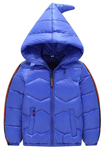 Wofupowga Boy's Loose Zipper Quilted Hooded Down Pocket Jacket Parka Coat Blue 7T by Wofupowga