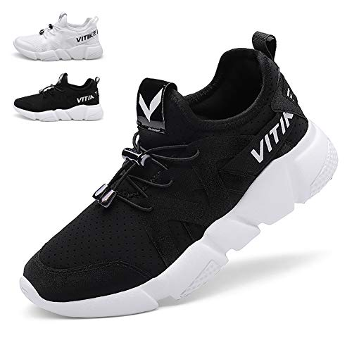- WETIKE Kids Shoes Boys Girls Sneakers Wrestling Tennis Shoes Lightweight Sports Shoes Slip On Running Walking School Casual Trainer Shoes Knit Mesh Black Size 4
